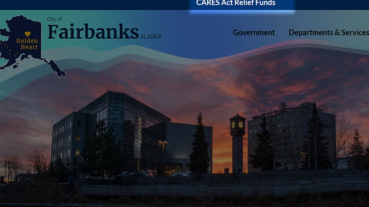 The City of Fairbanks website, fairbanksalaska.us, has implemented a banner header directing to its CARES Act page. (City of Fairbanks)