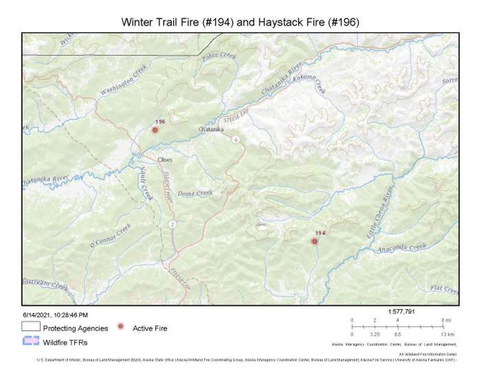 A map showing the locations of the Winter Trail Fire (#194) and Haystack Fire (#196) north of...