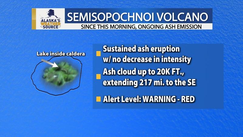 The Alaska Volcano Observatory upgraded the alert level for Semisopochnoi volcano to a warning...