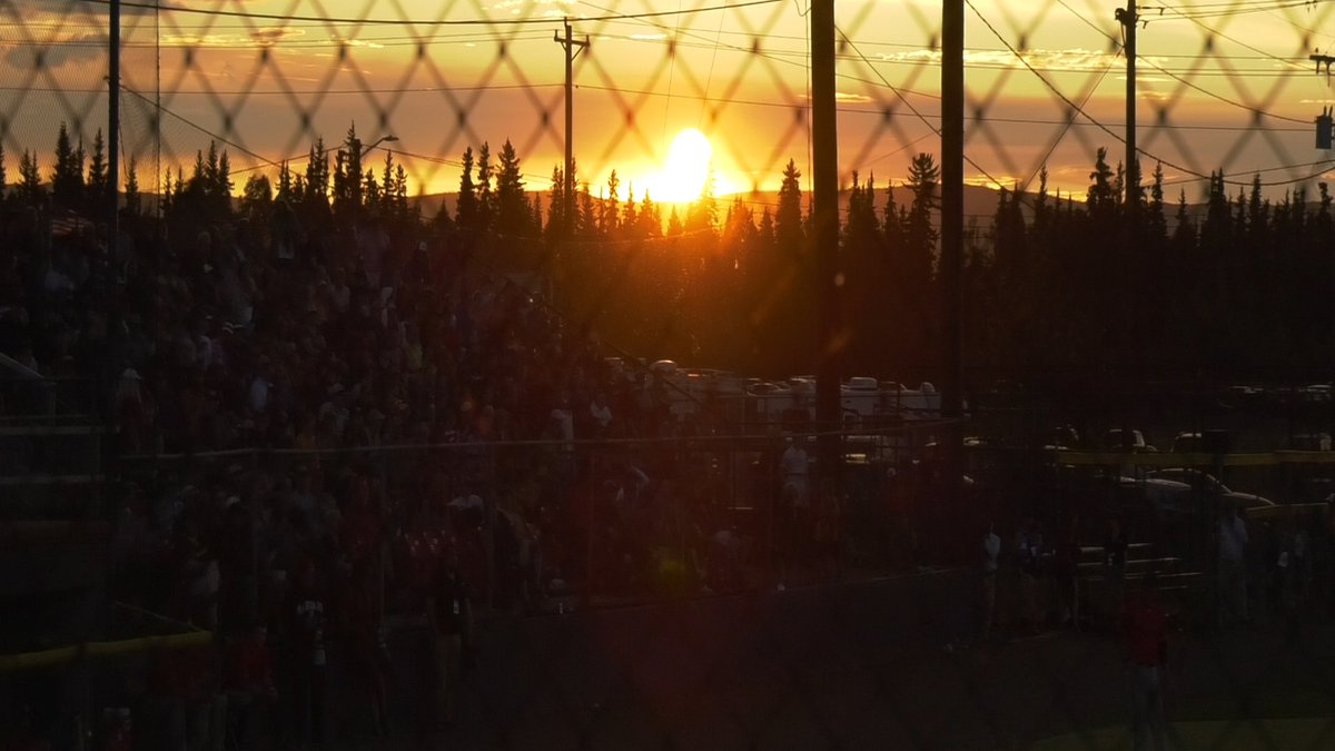 The sun sits just above the horizon on the 2019 summer solstice at the annual Midnight Sun...