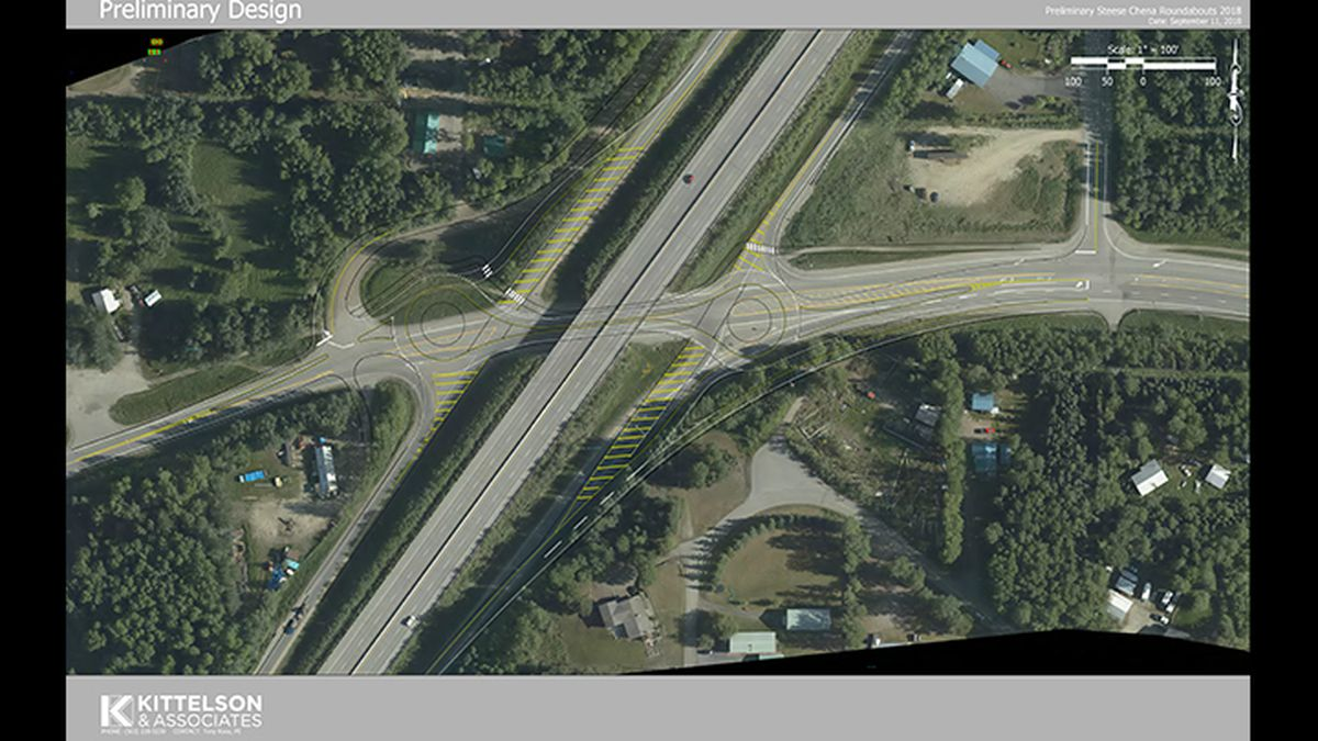 A drawing of the new construction project overlaid over a map of the intersection between the Steese Highway and Chena Hot Springs Road. (Courtesy of DOT)