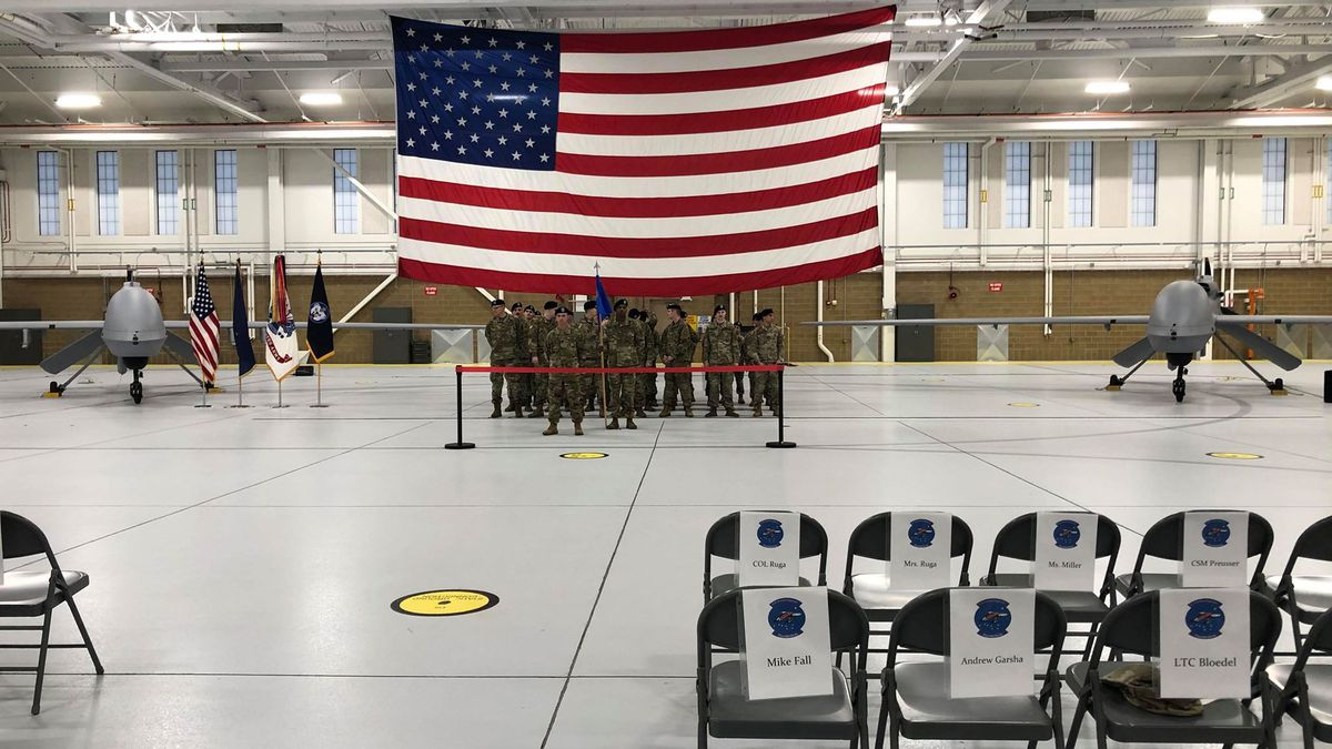 The nine MQ-1C Gray Eagles unmanned aircraft and the soldiers who operate them now have hanger 3 on Fort Wainwright. This building was built specifically for the purpose of the unmanned aircraft with special features to help their mission. (Sara Tewksbury/KTVF)
