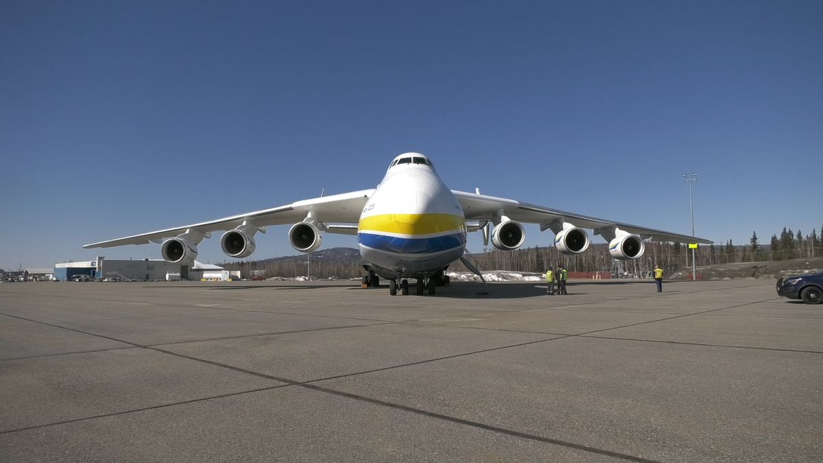 The Antonov AN-225 is seen parked on the tarmac of the Fairbanks International Airport after it was diverted from Anchorage. The aircraft is the larges cargo plane in the world. (John Dougherty/KTVF)