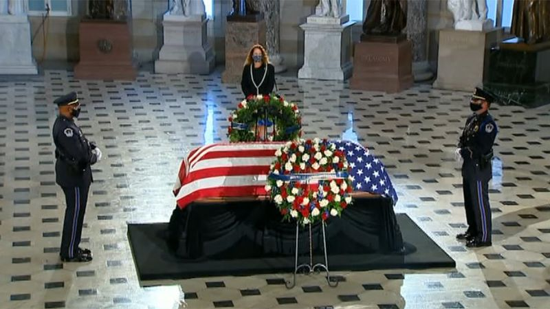 Justice Ruth Bader Ginsburg became the first woman to lie in state at the U.S. Capitol on Friday.