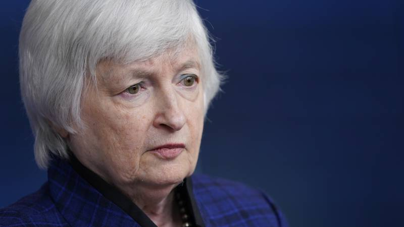 FILE - In this May 7, 2021, file photo Treasury Secretary Janet Yellen speaks during a news...