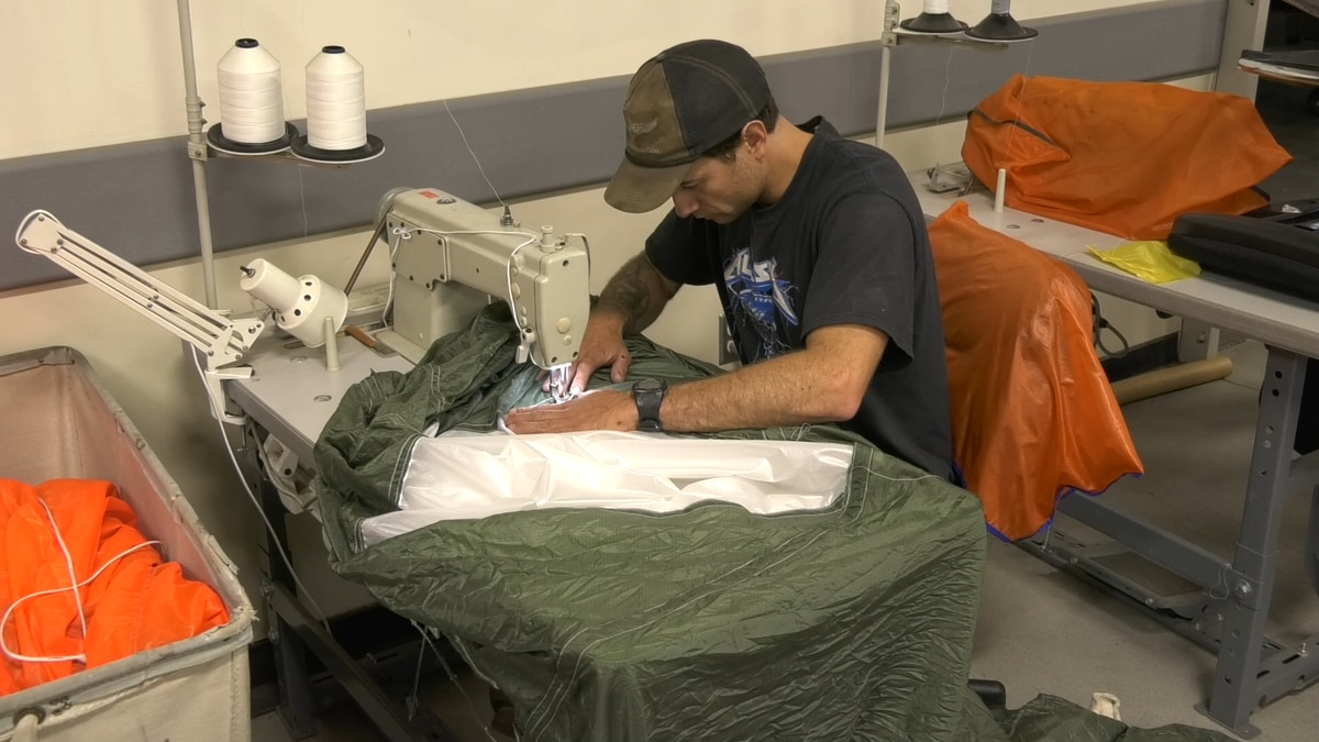 The Loft is what they call the space where they sew, rig, manufacture and repair their gear. Everything they use for their jumps is made in-house, from the rigging for the parachutes, to the bags they use to pack it out. (John Dougherty/KTVF)