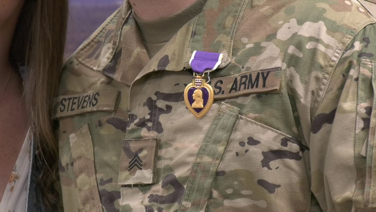 Two Fort Wainwright soldiers were awarded purple hearts for injuries they sustained during the Iran missile attack in January.  (Sara Tewksbury/KTVF)