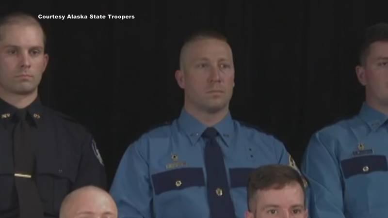 Trooper Benjamin Strachan at the Alaska Law Enforcement Training Program graduation ceremony in...