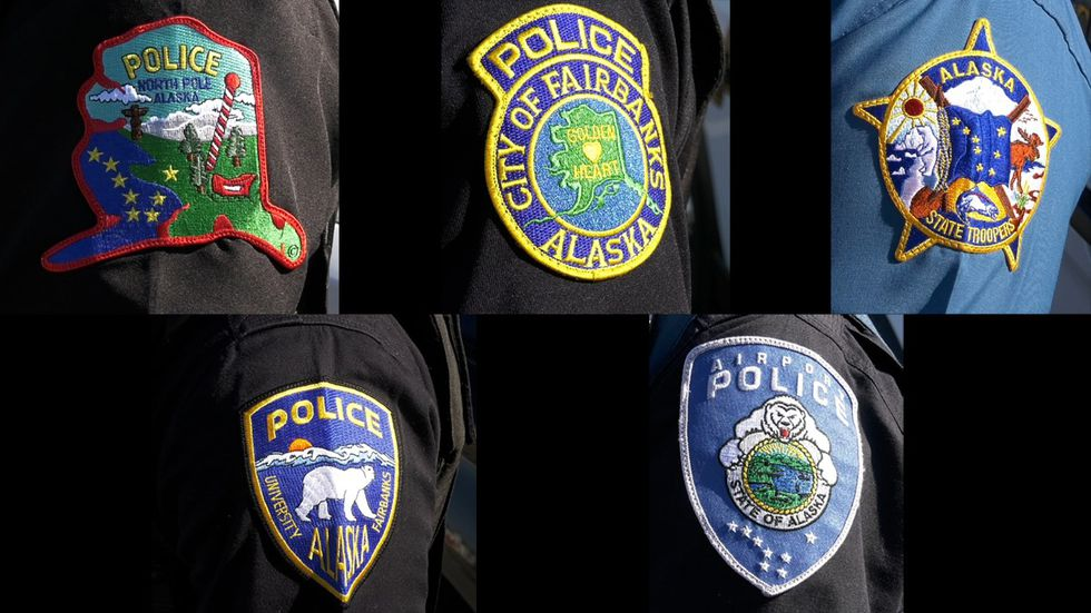 Patches of the five primary law enforcement agencies in Fairbanks. From left to right (Top row:...