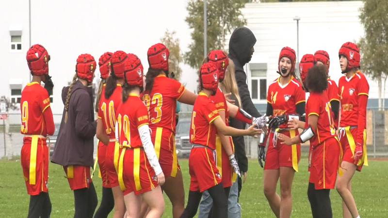 West Valley Flag Football celebrates a 6-0 season-opening victory over Lathrop.