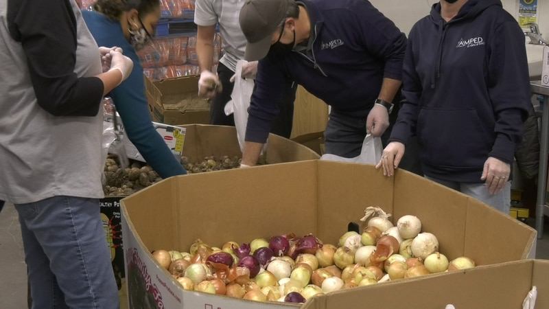 Fairbanks Community Food Bank preparing Thanksgiving meal donations.