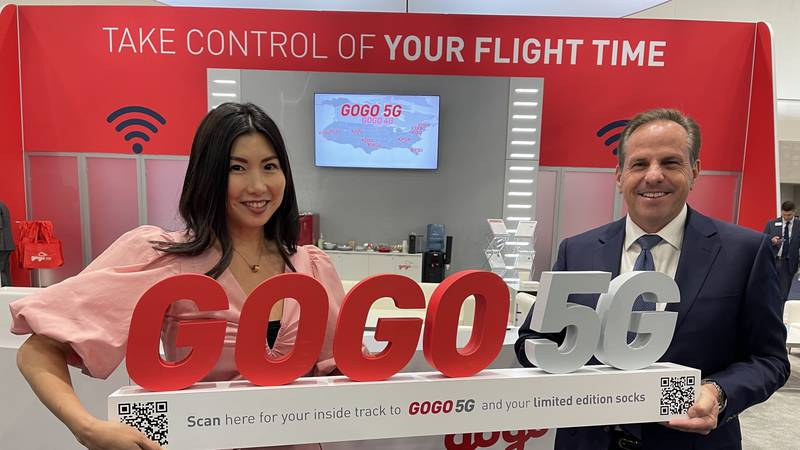 Jet Edge Chief Marketing Officer Noel Bahamon and Gogo Senior Vice President of Business...