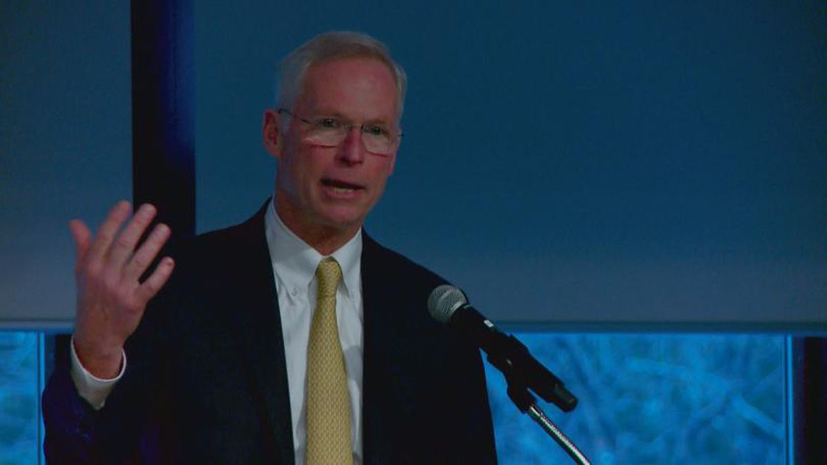 Jim Johnsen speaks at the Alaska Chamber Fall Forum in Girdwood, Alaska (Oct. 29, 2019)(KTUU)