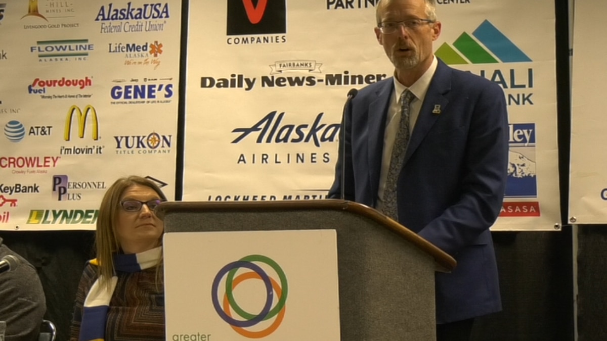 University of Alaska Fairbanks Chancellor, Dan White, gave a State of the University speech at today's Greater Fairbanks Chamber of Commerce luncheon. (Carly Sjordal/KTVF)