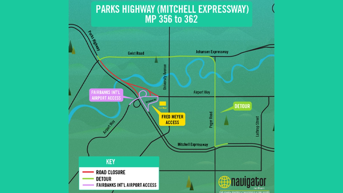 As of Monday morning, the Mitchell Expressway is now open at both Airport Way intersections, but the Parks-bound Chena River Bridge will remain closed until late next month. (Image Courtesy of Alaska DOT)