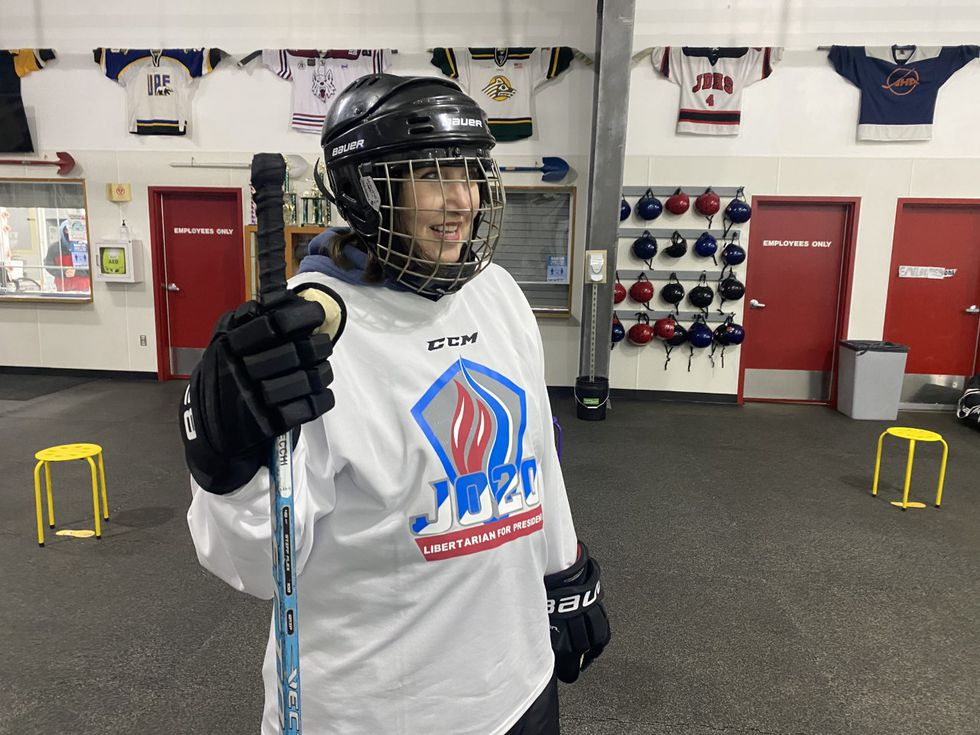 Dr. Jo Jorgensen getting ready to play hockey in Juneau, she says she is more a fan of playing than watching the game. (09/08/2020)