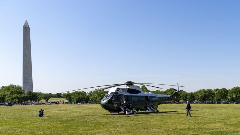 President Joe Biden walks towards Marine One on the Ellipse at the White House in Washington,...