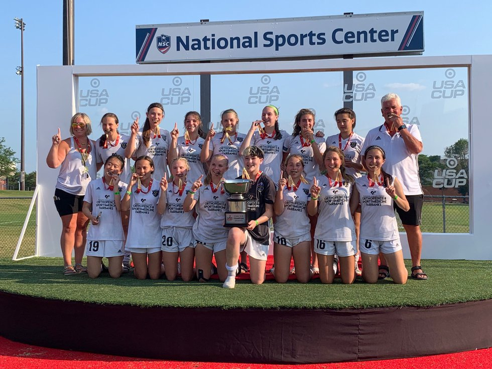 Eclipse Soccer '04 Girls celebrate after coming out of the Target USA Cup as champions.