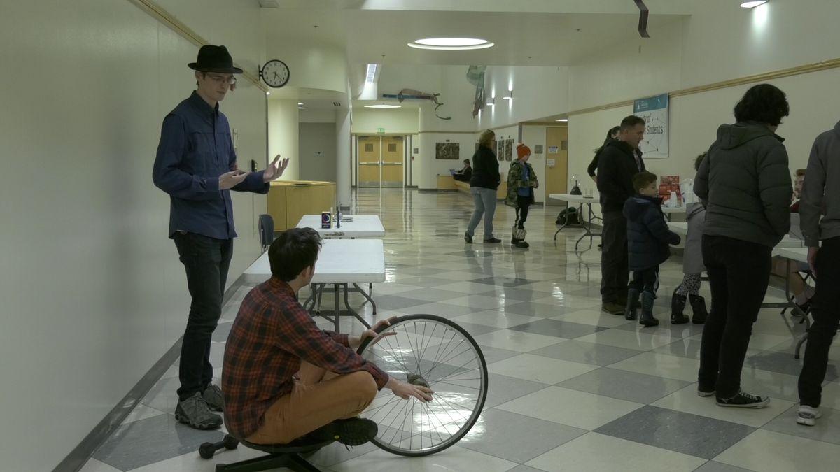 The Society of Physics Students at the University of Alaska Fairbanks held the outreach event 'Astropalooza' on Friday night. (Sara Tewksbury/KTVF)
