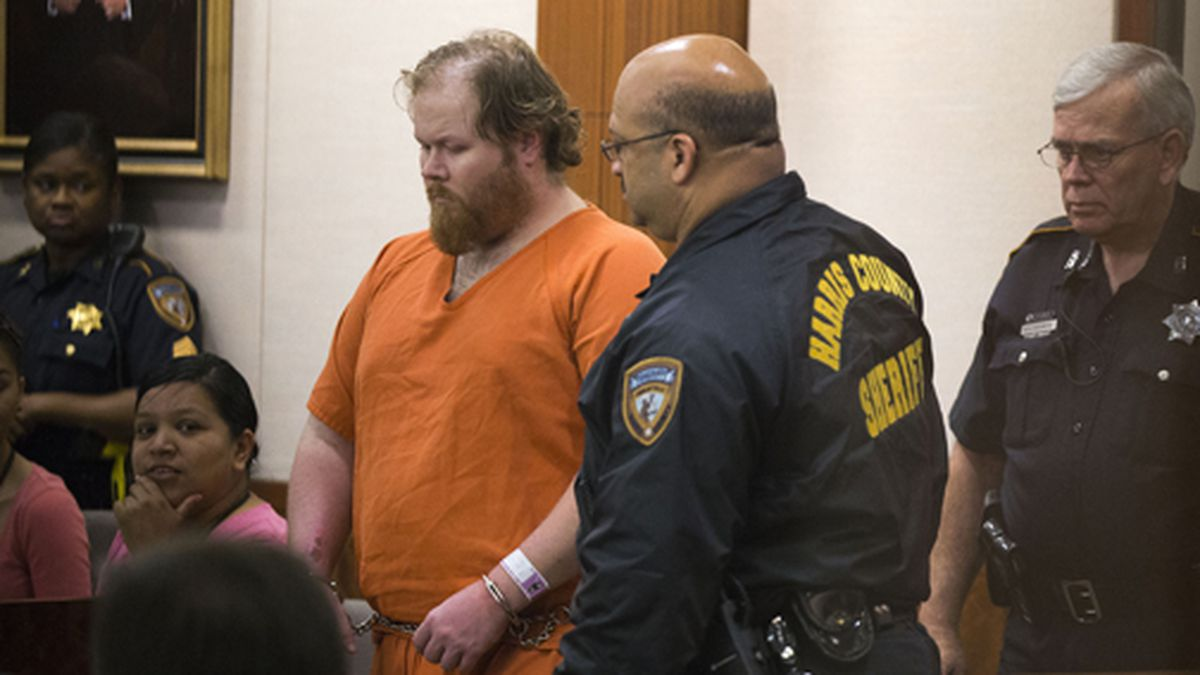 Ronald Lee Haskell is escorted by deputies for a hearing on Friday, July 11, 2014, in Houston....