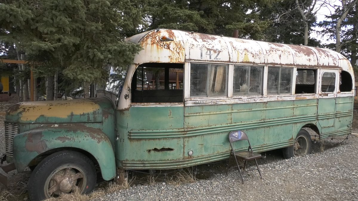 A replica of the 'Into the Wild' bus that was used for the movie of the same name sits at a local brewery in Healy, Alaska.