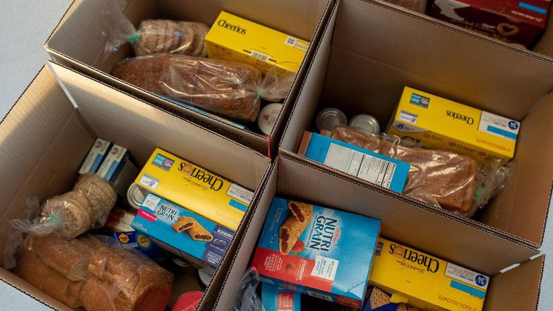 The FNA Head Start program provides food boxes to families with young children during the...