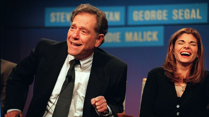 "Cast members from the NBC ""Just Shoot Me,"" George Segal, left, and Laura San-Giacomo appear at..."