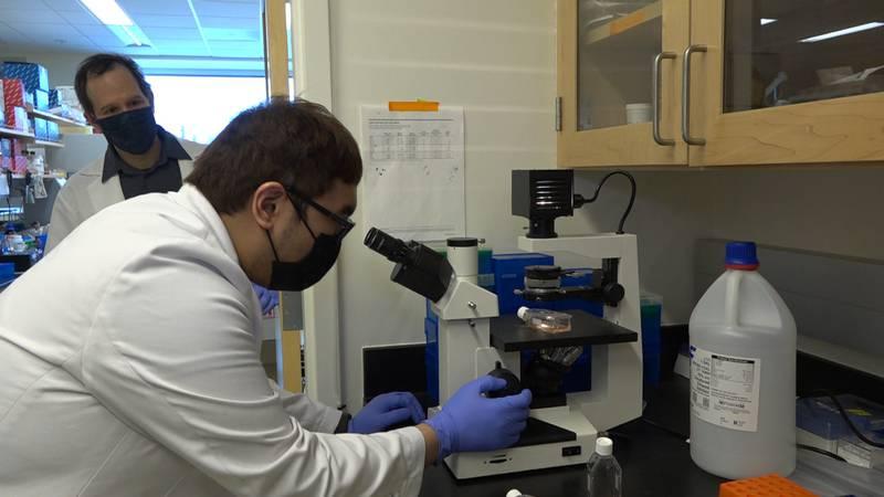 Dr. Eric Bortz overlooking graduate student, Ralph Dagdag as they do research on the coronavirus.