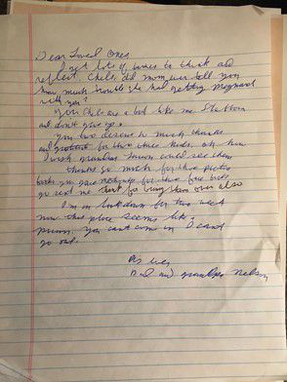 "One of Milt Nelson's letters to his family from Oct. 2020. He has been unable to see his family in person, other than visits to his South Dakota nursing home through glass, due to the pandemic. In the last paragraph, he writes that he is in lockdown and it feels like ""a prison."""