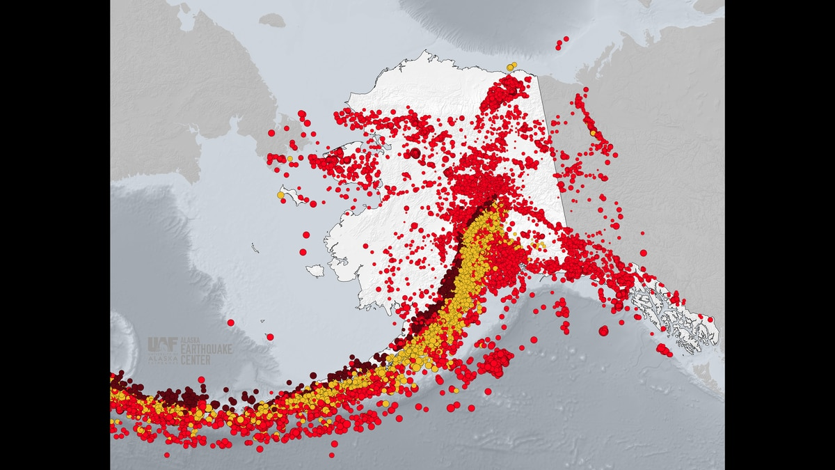 The dots represent earthquakes that have occurred between January 2019 to November of 2019, with the colors identifying the varying depths of each earthquake. (Alaska Earthquake Center)