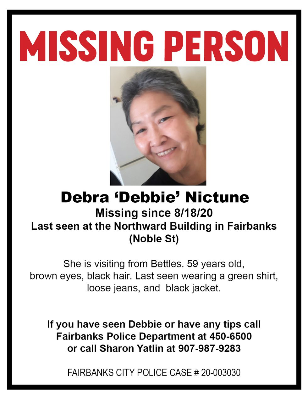 Missing person flyer for Debra 'Debbie' Nictune.