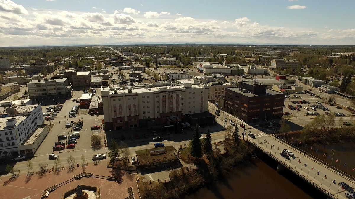 Downtown Fairbanks seen from the air.