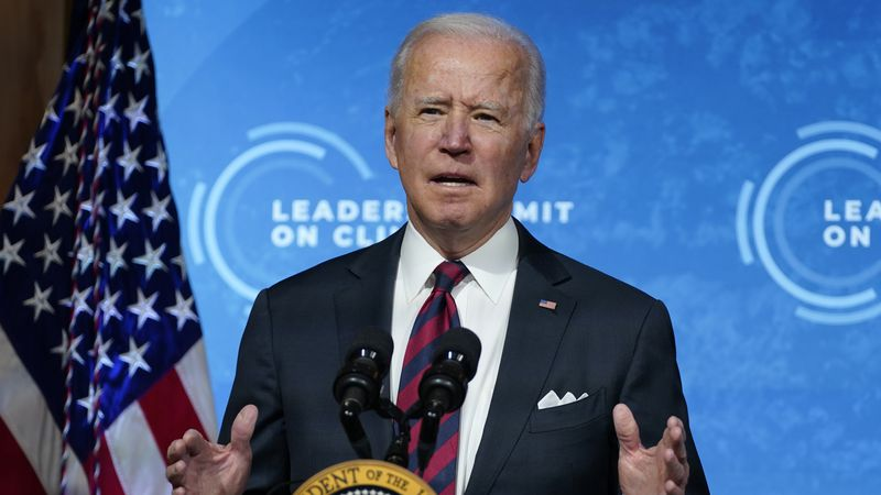 President Joe Biden speaks to the virtual Leaders Summit on Climate, from the East Room of the...