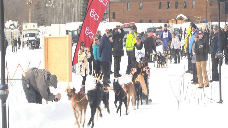 A sled team takes off from the starting chute in the 2018 Open North American Championships.