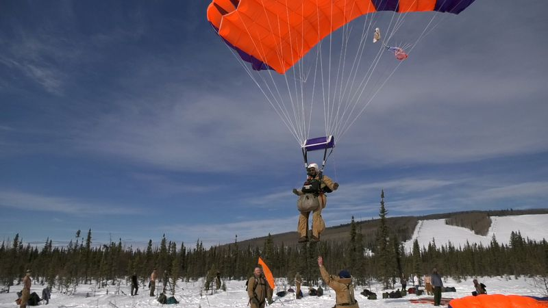 Smokejumper Billy McCall comes in for landing during a training jump on Thursday. He said that...