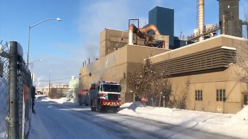 A coal dust fire broke out at the Aurora Energy power plant on 1st Avenue Monday morning.