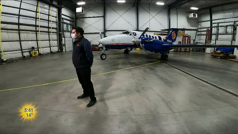 Eric Lewis with LifeMed Alaska in front of one of the planes used for transporting patients...