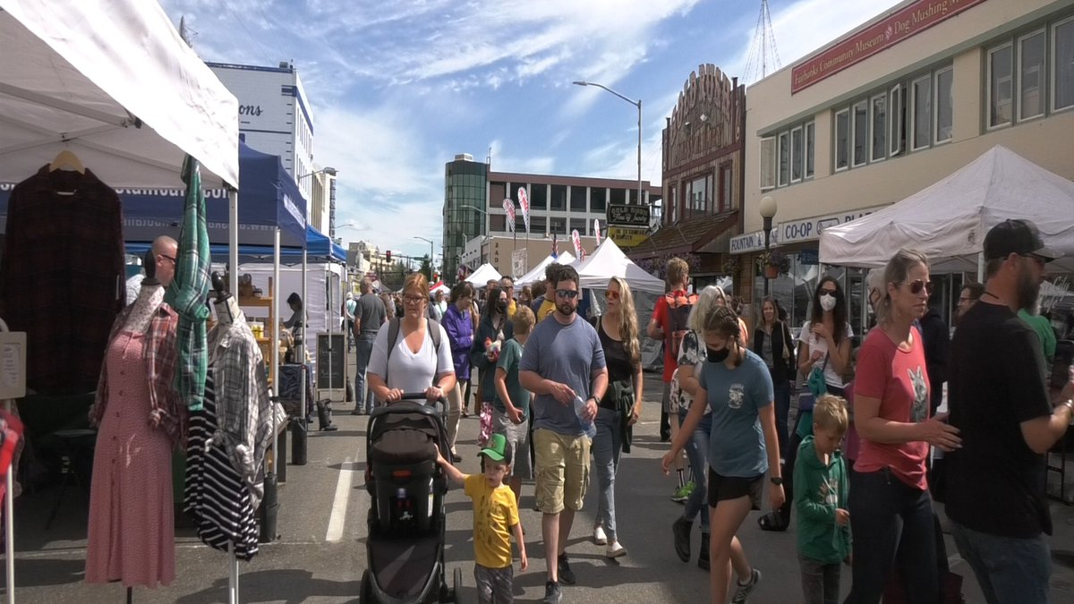 Thousands crowded 1st and 2nd Avenue in downtown Fairbanks to celebrate solstice weekend.
