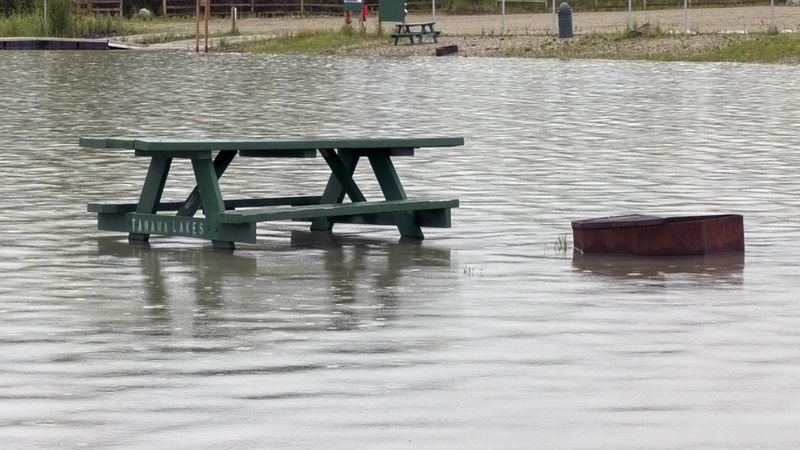 Picnic areas at the Tanana Lakes Recreation Area remain submerged under water after a record...