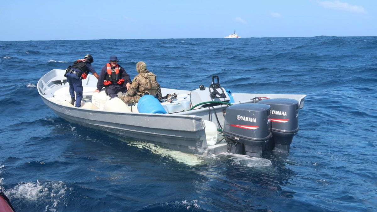 Coast Guard Cutter Munro (WMSL 755) crew members inspect a go-fast vessel in international waters of the Eastern Pacific Ocean Jan. 16, 2020. Coast Guard crews seized nearly 20,000 pounds of cocaine worth an estimated $338 million, through eight separate suspected drug smuggling interdictions and disruptions off the coasts of Mexico, Central and South America by four Coast Guard cutters between November 2019 and January 2020. (U.S. Coast Guard photo).