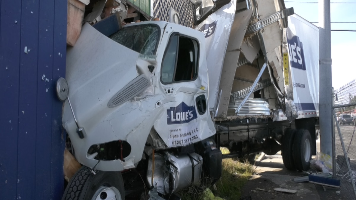 A Lowe's truck crashed into the Break Room Pool house at the corner of South Cushman and...