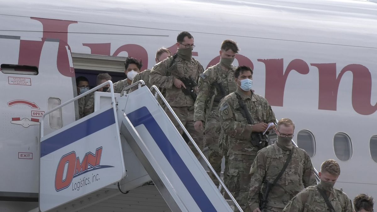 Fort Wainwright soldiers return home to Fairbanks after a nine-month deployment to the Middle East. (Sara Tewksbury/KTVF)