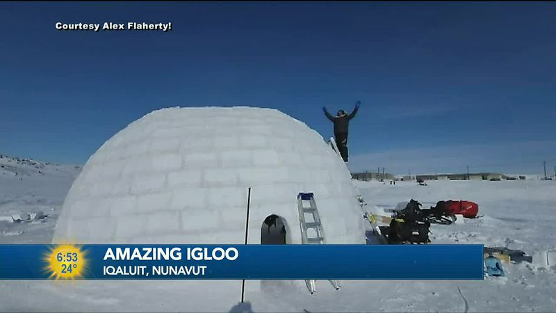 Catching clicks and views online a group in Iqaluit, Nunavut builds brilliant igloo.