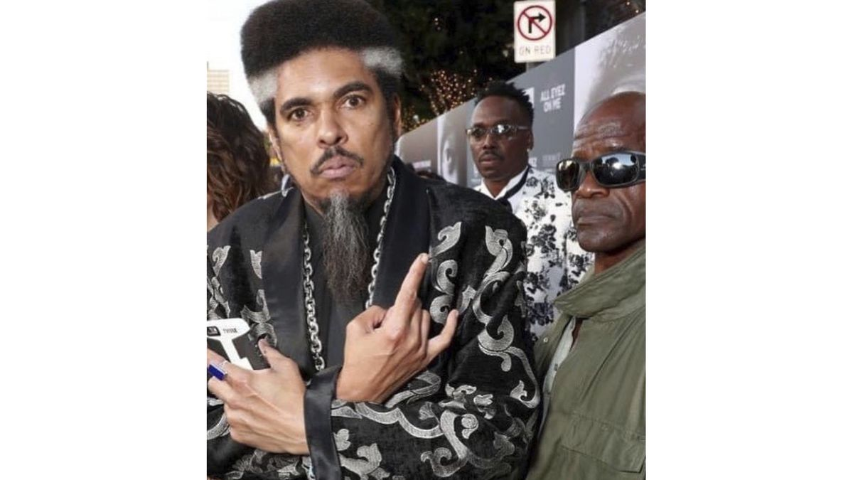"""In this photo provided by Nzazi Malonga, Shock G, left, poses at the """"All Eyez On Me"""" film..."""