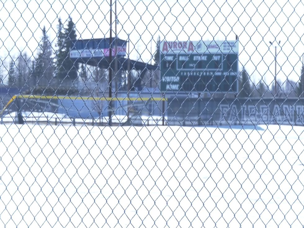 A snow-covered Marlin Field, home of the West Valley Wolfpack, on April 26.