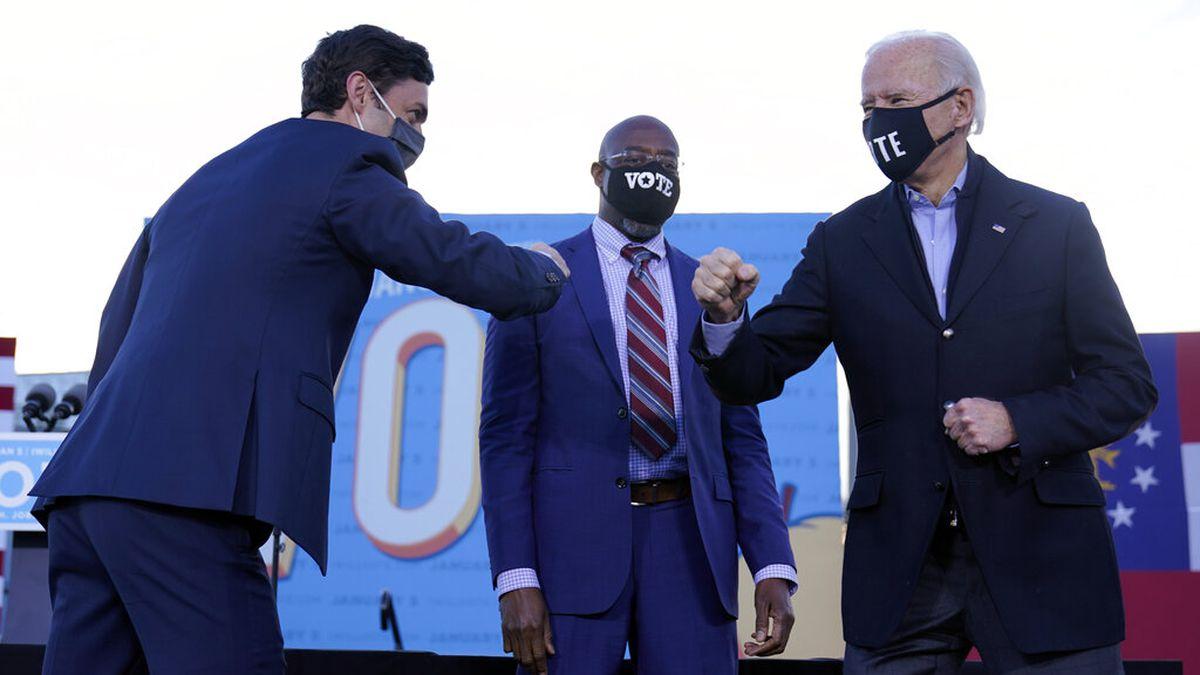 President-elect Joe Biden campaigns in Atlanta, Monday, Jan. 4, 2021, for Senate candidates...