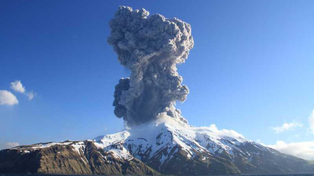 The eruption plume of Great Sitkin volcano was captured as it erupted Tuesday, May 25, 2021 in...