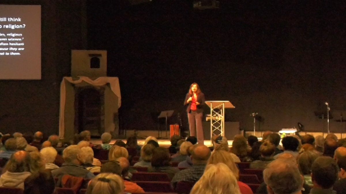 Climate scientist, Doctor Katherine Hayhoe, has been visiting different organizations and holding lectures in Fairbanks. On Tuesday, she held a lecture at Friends Church, about how faith and science can interact. (Carly Sjordal/KTVF)