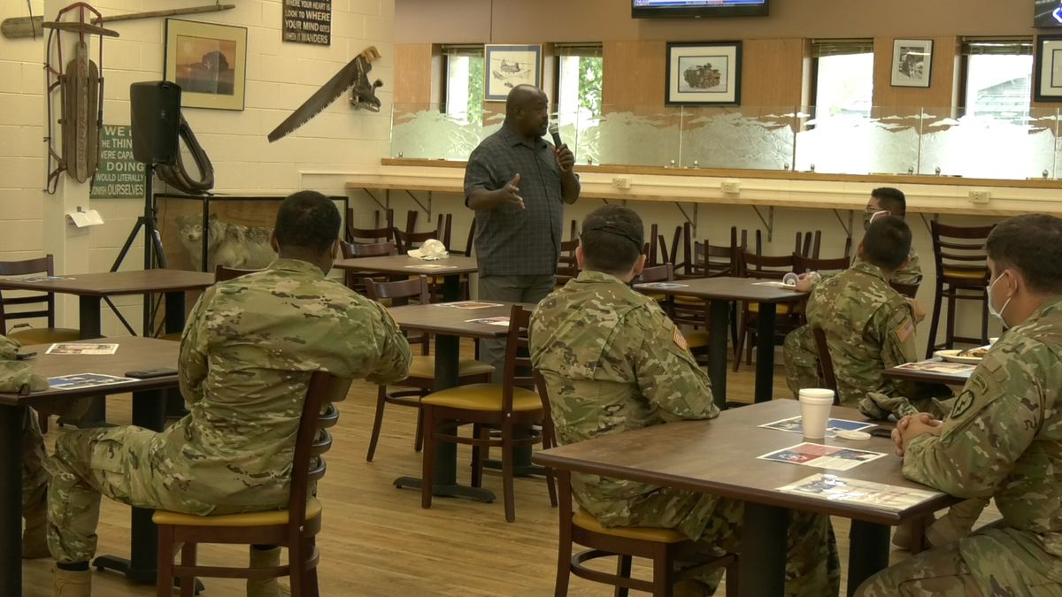 A guest speaker spoke to soldiers at the Fort Wainwright Juneteenth celebration on Friday. (Sara Tewksbury/KTVF)