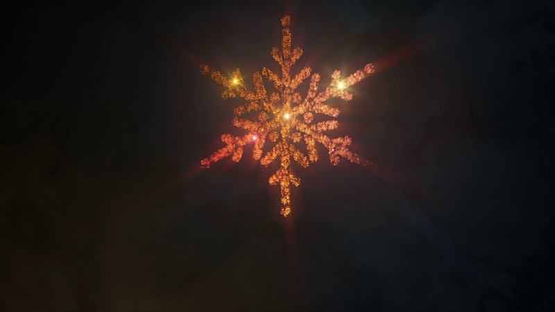 A pyrotechnic snowflake to usher in the New Year